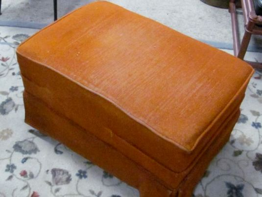 Ugly Orange Footstool on JanMadeIt
